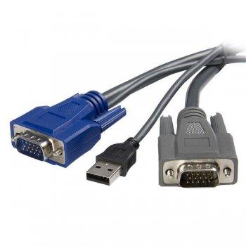 StarTech.com Cable KVM USB VGA 2 en 1 Ultra Delgado - 1,8m