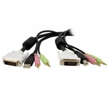 StarTech.com Cable de 1,8m para Switch Conmutador KVM 4en1 DVI-D Dual Link Doble Enlace USB con Audio Micrófono