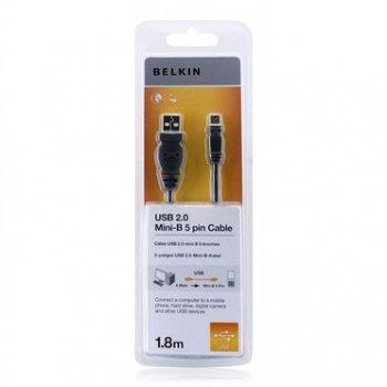 Belkin USB 2.0 A Mini USB B, 1.8m cable USB 1,8 m USB A Mini-USB B Negro