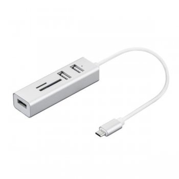 Nilox NX090301141 hub de interfaz USB 3.0 (3.1 Gen 1) Type-C Plata