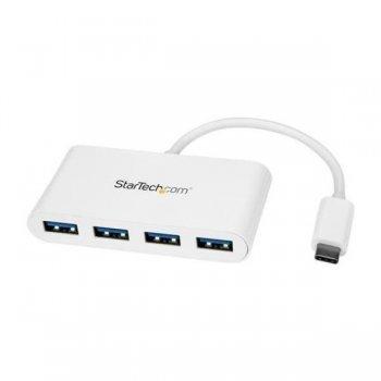 StarTech.com Hub Concentrador USB 3.0 de 4 Puertos - Ladrón USB-C a 4x USB A - Alimentado por el Bus - Blanco
