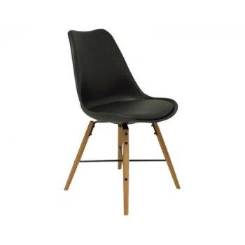 Silla pyc picon confidente estructura metal imitacion madera asiento acolchado y respaldo pvc apilable negro