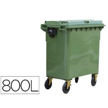 Contenedor plastico con tapadera 800 l 4 ruedas con freno color verde 1360x770x1269 mm