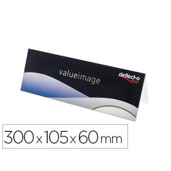 Identificador sobremesa deflecto din a4 doble cara pvc flexible horizontal 300x105x60 mm