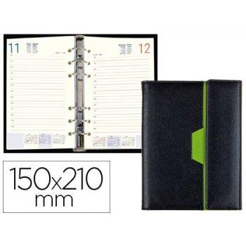 Agenda anillas liderpapel nero 15x21 cm 2020 dia pagina color negro verde papel 70 gr