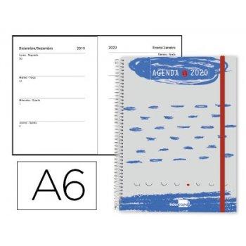 Agenda espiral liderpapel tinos a6 2020 semana vista portada polipropileno personalizable papel 70 gr