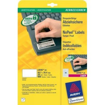 Avery L6145-20 etiqueta de impresora Blanco
