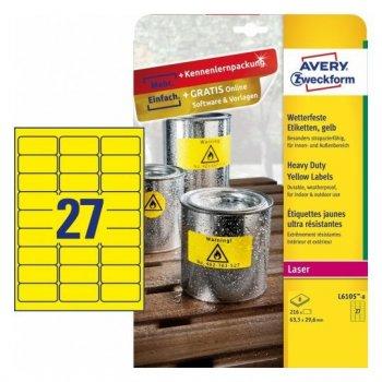 Avery L6105-8 etiqueta de impresora Amarillo Etiqueta para impresora autoadhesiva