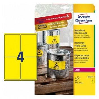 Avery L6127-8 etiqueta de impresora Amarillo Etiqueta para impresora autoadhesiva