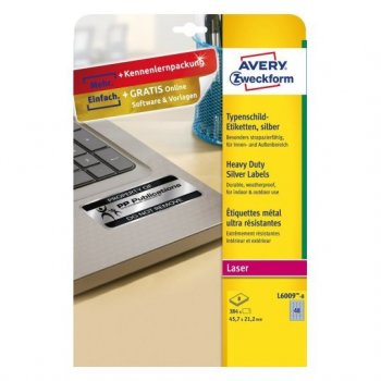 Avery L6009-8 etiqueta de impresora Plata Etiqueta para impresora autoadhesiva