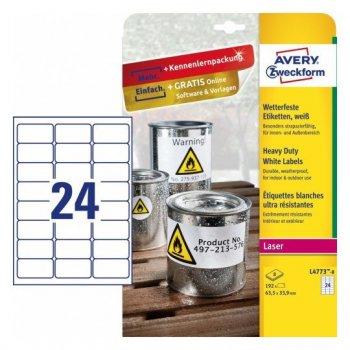 Avery L4773-8 etiqueta de impresora Blanco Etiqueta para impresora autoadhesiva