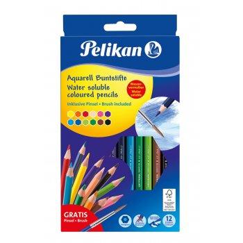 Pelikan 700672 laápiz de color 12 pieza(s) Negro, Azul, Marrón, Verde, Azul claro, Verde claro, Naranja, Melocotón, Rosa, Rojo,