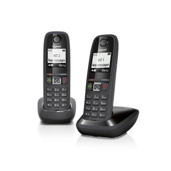 Gigaset AS405 Duo Teléfono DECT Negro Identificador de llamadas