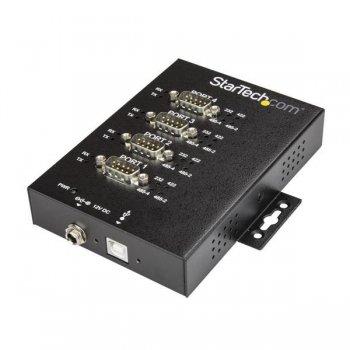 StarTech.com Adaptador Industrial USB a 4 Puertos Serie DB9 RS232 RS422 RS485 con Protección ESD de 15kV - Cable Conversor USB
