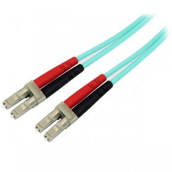 StarTech.com Cable de 1m de Fibra Óptica Dúplex Multimodo OM4 de 100Gb 50 125 LSZH LC a LC - Aguamarina