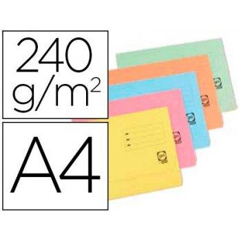 Subcarpeta cartulina elba din a4 con solapa y bolsa pack de 25 unidades colores pastel surtidos 240 gr