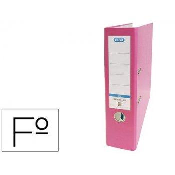 Archivador de palanca elba carton forrado pvc con rado top folio lomo 80 mm rosa