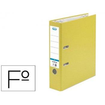 Archivador de palanca elba carton forrado pvc con rado top folio lomo 80 mm amarillo