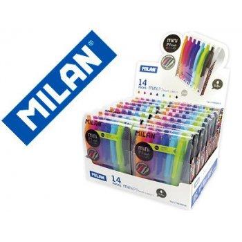 Boligrafo milan p1 retractil 1 mm touch mini estuche de 7 unidades colores surtidos expositor de 14 estuches
