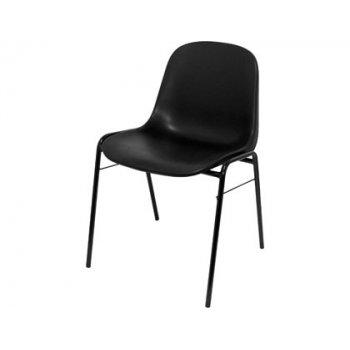 Silla pyc alborea confidente estructura tubo metal negra asiento y respaldo pvc ergonomica y apilable negro