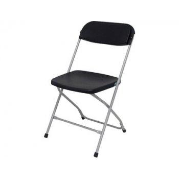 Silla pyc viveros conferencia estructura aluminio asiento y respaldo polipropileno negro plegable 80x46x46 cm