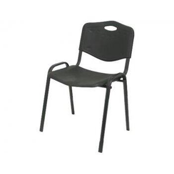 Silla pyc robledo confidente estructura metal negra asiento y respaldo pvc ergonomica y apilable negro