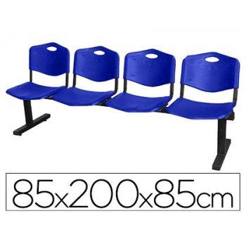 Bancada de espera pyc bienservida estructura hierro negro cuatro asientos y respaldo pvc azul 85x200x42