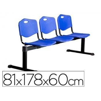Bancada de espera pyc pozohondo estructura hierro negro tres asientos y respaldo pvc azul 81x178x60