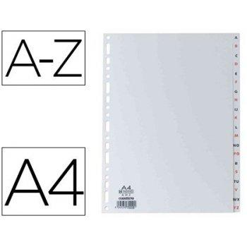 Separador alfabetico elba plastico 120 mc din a4 11 taladros a-z gris