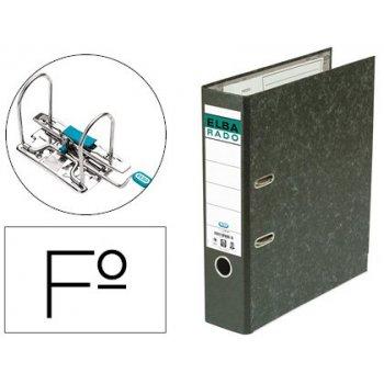 Archivador de palanca elba carton forrado jaspeado con rado folio lomo de 80 mm negro