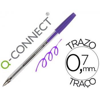 Boligrafo transparente q-connect morado medio kf11496