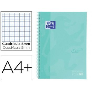 Cuaderno espiral oxford ebook 1 school touch te din a4+ 80 hojas cuadro 5 mm con margen mint pastel