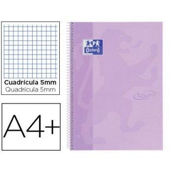Cuaderno espiral oxford ebook 1 school touch te din a4+ 80 hojas cuadro 5 mm con margen malva pastel