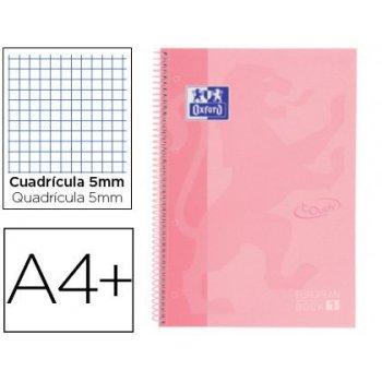 Cuaderno espiral oxford ebook 1 school touch te din a4+ 80 hojas cuadro 5 mm con margen flamingo pastel