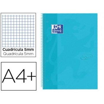 Cuaderno espiral oxford ebook 1 tapaextradura din a4+ 80 hojas cuadro 5 mm con margen bebe touch