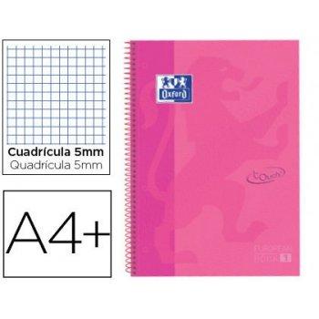 Cuaderno espiral oxford ebook 1 tapaextradura din a4+ 80 hojas cuadro 5 mm con margen lavanda touch