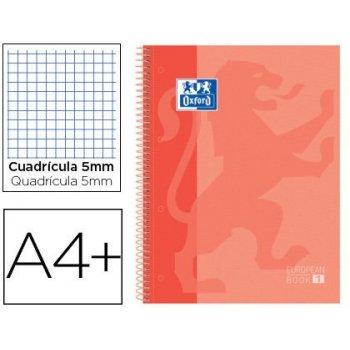Cuaderno espiral oxford ebook 1 school classic din a4+ 80 hojas cuadro 5 mm melocoton