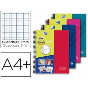 Cuaderno espiral oxford europeanbook 5 write&erase school classic din a4+ 120 hojas cuadro 5 mm con margen