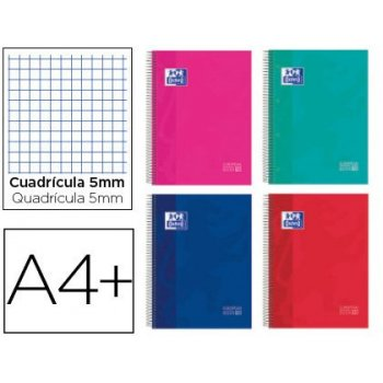 Cuaderno espiral oxford surt europeanbook 10 school classic tapa extradura din a4+ 150 hojas cuadro 5 mm con