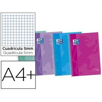 Cuaderno espiral oxford ebook 5 tapa extradura din a4+ 120 hojas cuadro 5 mm con margen tendencia 50% hojas gratis