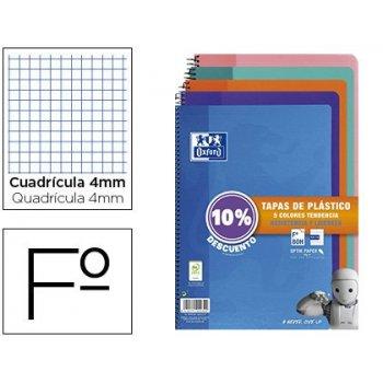 Cuaderno espiral oxford tapa plastico folio 80 hojas cuadro 4 mm pack 5 unidades colores tendecias
