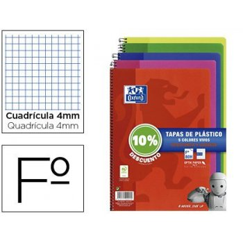 Cuaderno espiral oxford tapa plastico folio 80 hojas cuadro 4 mm pack 5 unidades colores vivos