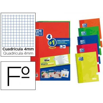 Cuaderno espiral oxford tapa extradura folio 80 hojas cuadro 4 mm write&erase pizarra pack 4+1 unidades