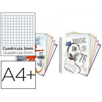 Cuaderno espiral oxford europeanbook 5 tapa extradura din a4+ 120 hojas cuadro 5 mm con margen street spirit