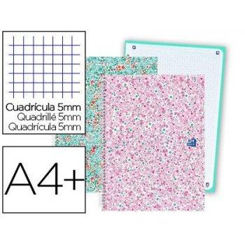 Cuaderno espiral oxford europeanbook 1 bloom tapa extradura din a4+ 80 hojas cuadro 5 mm con margen bloom