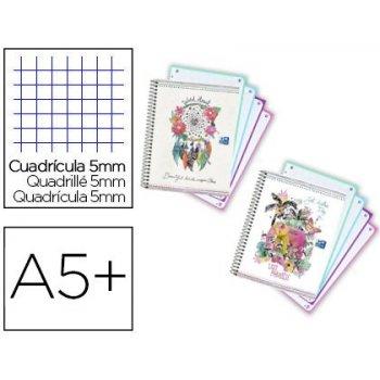 Cuaderno espiral oxford europeanbook tapa extradura din a5+ 120 hojas cuadro 5 mm con margen boho dream