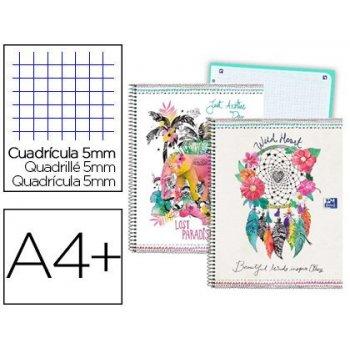 Cuaderno espiral oxford europeanbook tapa extradura din a4+ 80 hojas cuadro 5 mm con margen boho dream