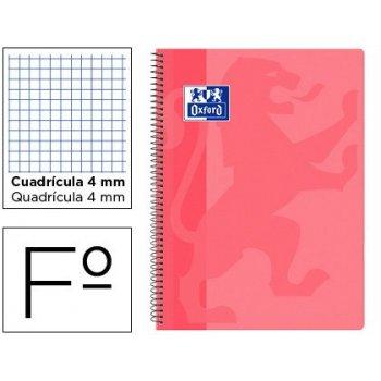 Cuaderno espiral oxford school classic tapa polipropileno folio 80 hojas cuadro 4 mm con margen rosa