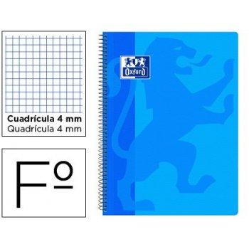 Cuaderno espiral oxford school classic tapa polipropileno folio 80 hojas cuadro 4 mm con margen azul