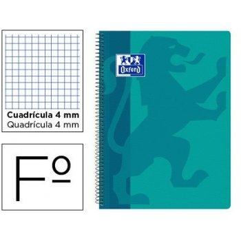 Cuaderno espiral oxford school classic tapa polipropileno folio 80 hojas cuadro 4 mm con margen aqua